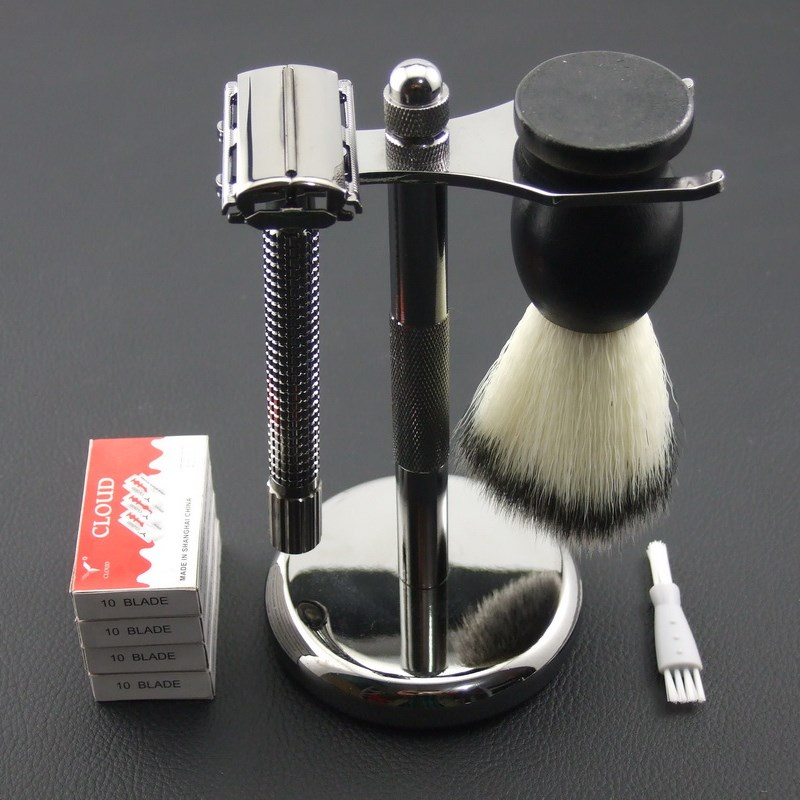 WEISHI Double Edge Safety Razor 9306-CL with Gun color stand + 40PCS blades + Shaving brush Simple packing NEW merkur 45 bakelite safety razor travel set
