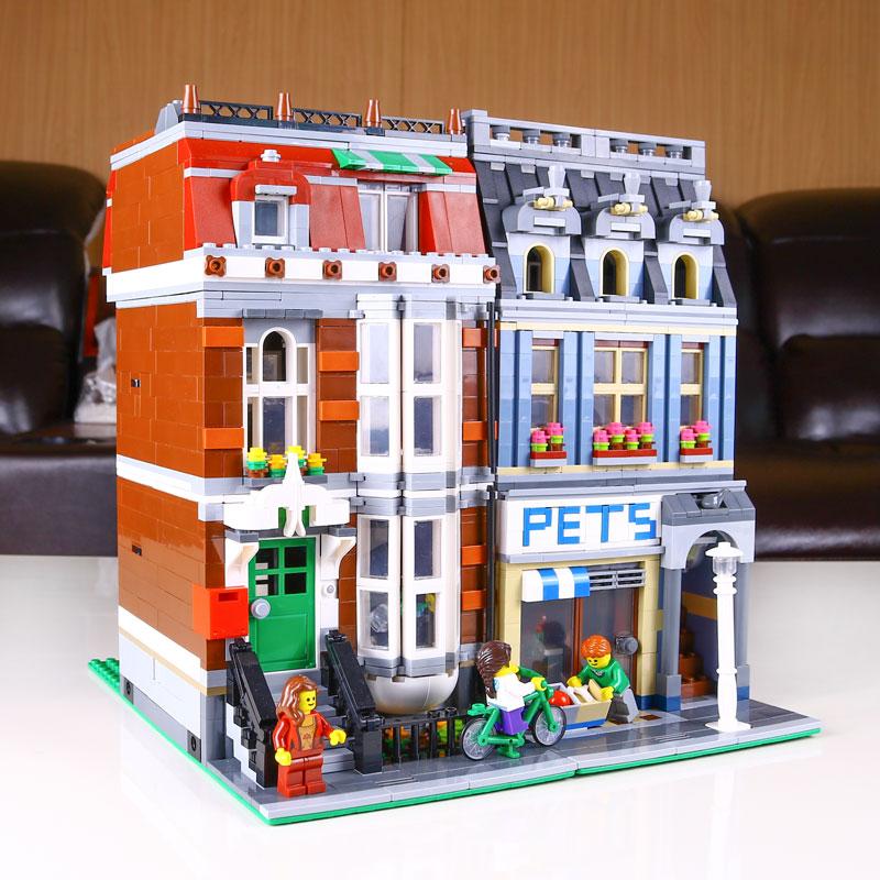 DHL 15009 Street Building Series The 10218 Pet Shop Supermarket Model City Street Building Blocks Bricks