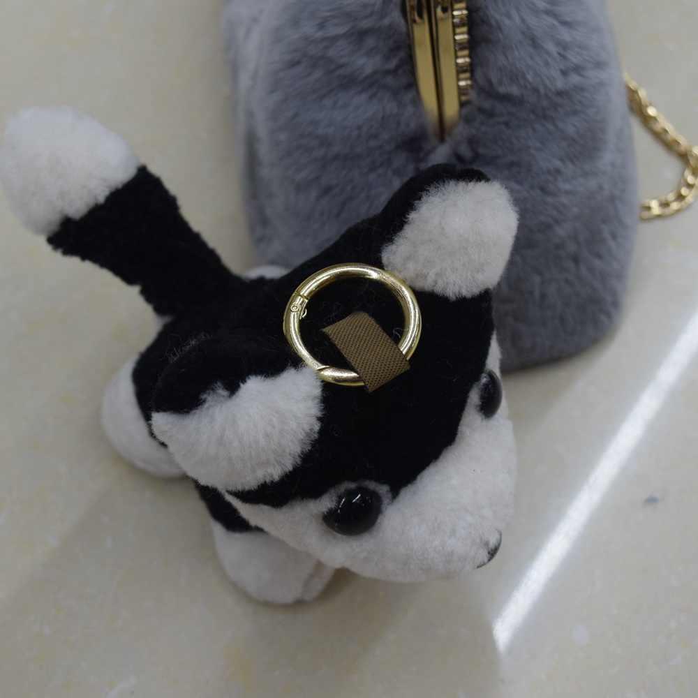 Bonito Anel Chave Cão Animal de Pelúcia Hamster Pengpeng Pele Real Anel Chave Do Carro Chaveiro de Pelúcia Acessórios Charme