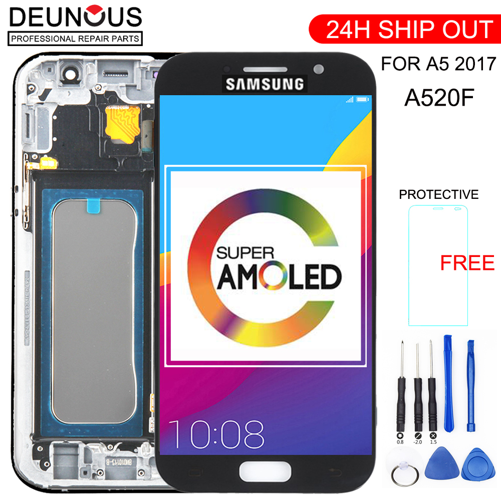 OLED For SAMSUNG A5 2017 Display Touch Digitizer Sensor Glass Assembly With Frame For GALAXY A5 2017 A520 A520F LCD SM-A520F