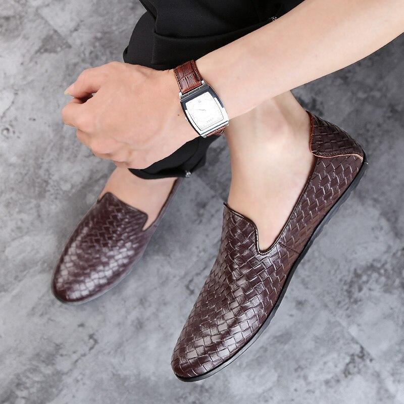 Mode Sport Nouvelle Respirant Confortable Chaussures 45 Black brown Taille En Printemps Cuir De Hommes blue Marque 37 automne Mocassins fwPRAq1w