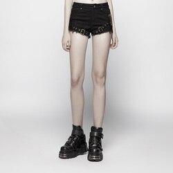 PUNK RAVE Frauen Steampunk Shorts Mid Taille Mesh Micro-elastische Twill Metall Getriebe Dekoration Streetwear Persönlichkeit Hosen