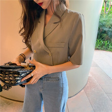 2019 Women's Blazer Short Sleeve Blazers Solid One Button Co