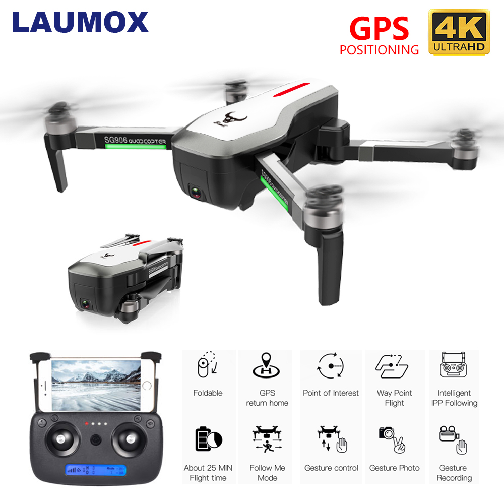 LAUMOX SG906 Drone GPS 5G WIFI FPV With 4K HD Camera Brushless Selfie Foldable Drones RC