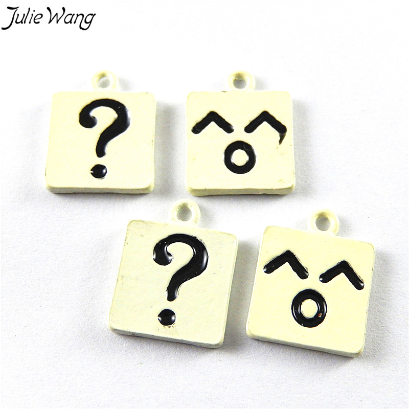 Julie Wang 10PCS Mikly White Color Base Black Question Mark Smiling Face Pattern Enamel Alloy Charms DIY Twinket Findings