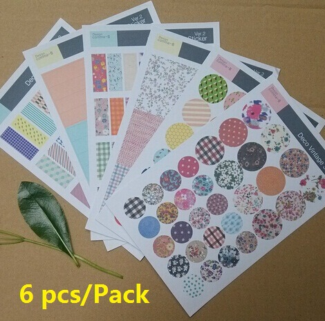 Wholesale 6 sheets.pack retro Floral Pattern Sticker Set.Multifunction.Colorful Cartoon DIY Paper Sticker.Sign post.Label