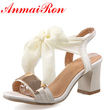 ANMAIRON Fashion New Women High Heels Open Toe Summer Sandals Shoes Woman 3 Colors White Lace-up Bowtie Charms