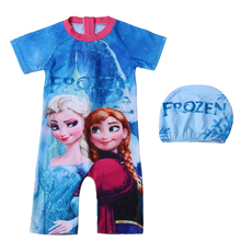Children's wear 2018 new girls in the big children ice snow Princess print cartoon Europe and America children's swimwear