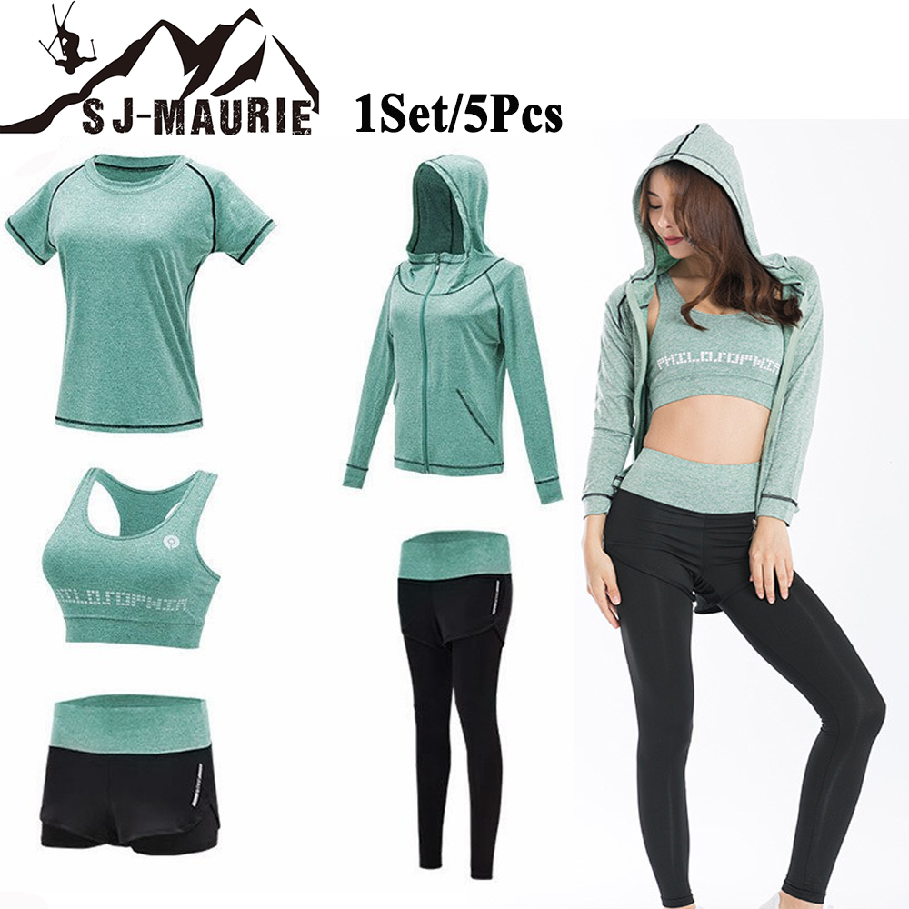 1Set 5Pcs Quick Dry Yoga Running Sets Women Gym Fitness Tracksuit Sport T shirt Sports Bra
