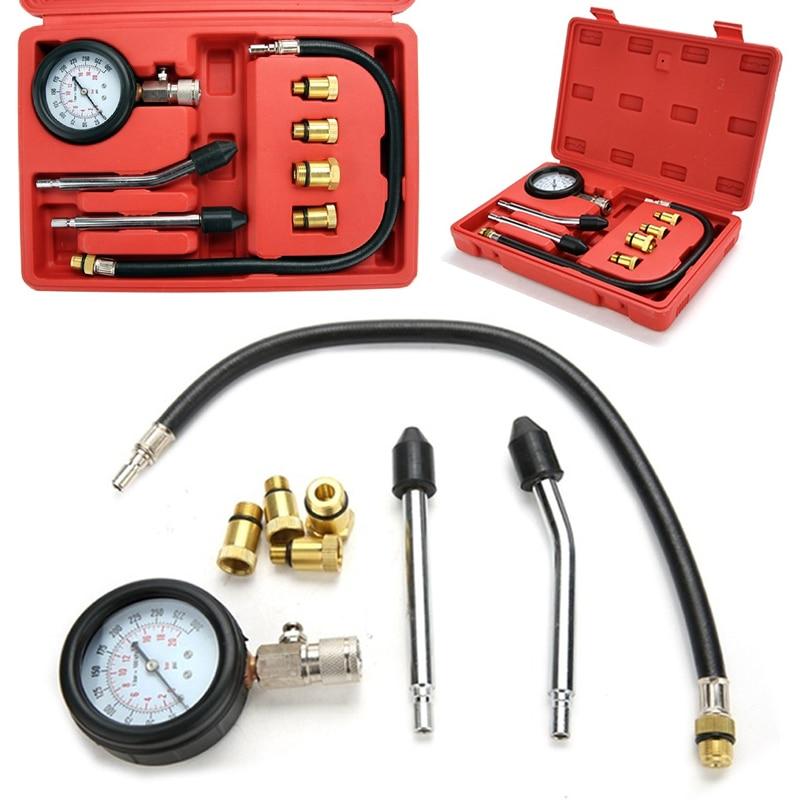 1 set Professional Cylinder Compression Tester Test Kit Mechanics Gas Engine Fittings M10 M12 M14 M18 in Pressure Gauges from Tools