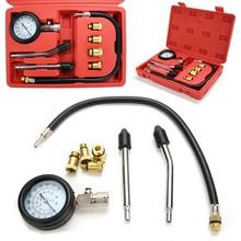 1 set  Professional Cylinder Compression Tester Test Kit Mechanics Gas Engine Fittings M10 M12 M14 M18 utool petrol engine compression tester tool kit with extension bar 0 300psi m10 m12 m14 m18 adaptor