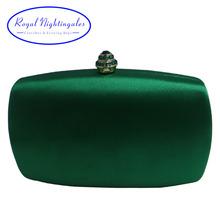 Eleganckie twarde pudełko sprzęgło jedwabne satynowe ciemne zielone torebki wieczorowe dla dopasowania buty i damskie wesele prom wieczór party tanie tanio Satyna Kobiet No Pocket Pojedynczy Ramki Evening Bags Otwórz Royal Nightingales Twardy Strona SK-316-1706301 Moda Open Pocket