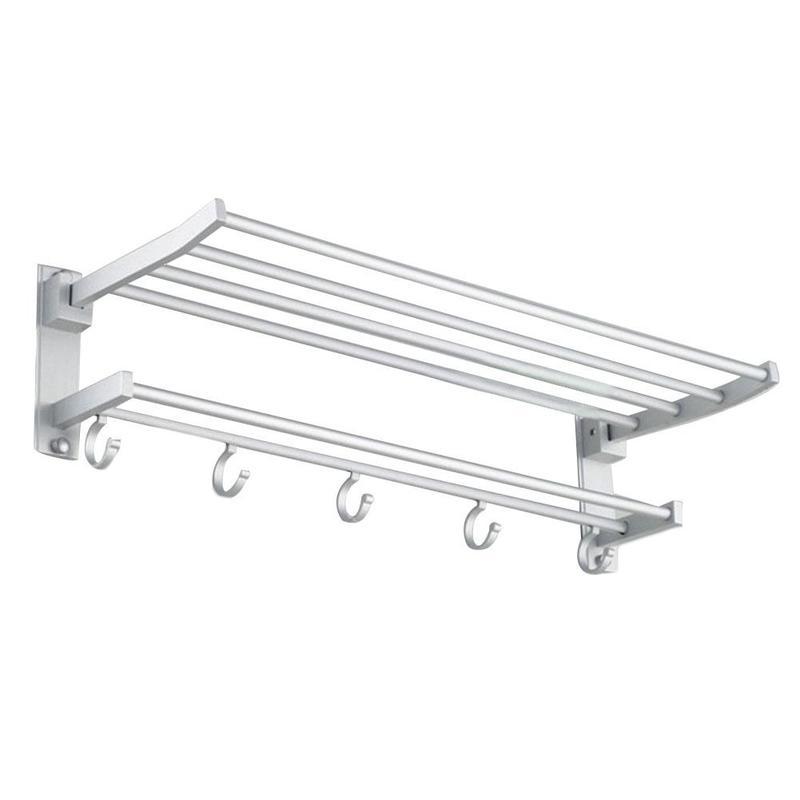 Alumimum Bathroom Towel Holder Wall-mounted Towel Rack Organizer Storage Shelf With 4 Hooks Bathroom Accessories ZWJ6921