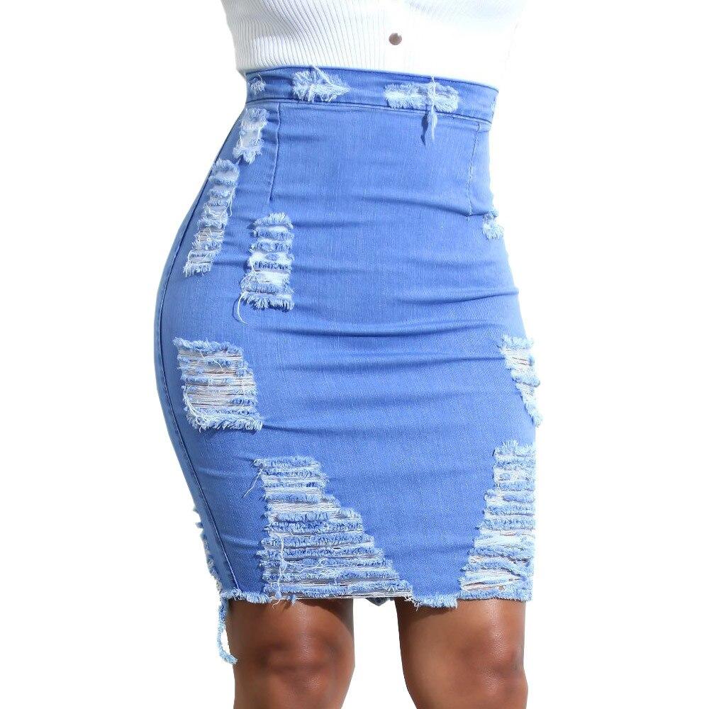 Summer new fashion skirt ladies hole scratching denim  hip skirt Slim pencil skirt women's  knitted skirt