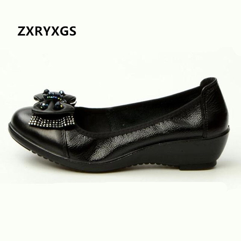 2019 Spring New Black Bow Genuine Leather Shoes Woman Fashion Rhinestone Wedge Heel Women Shoes Non slip Comfort Casual Shoes