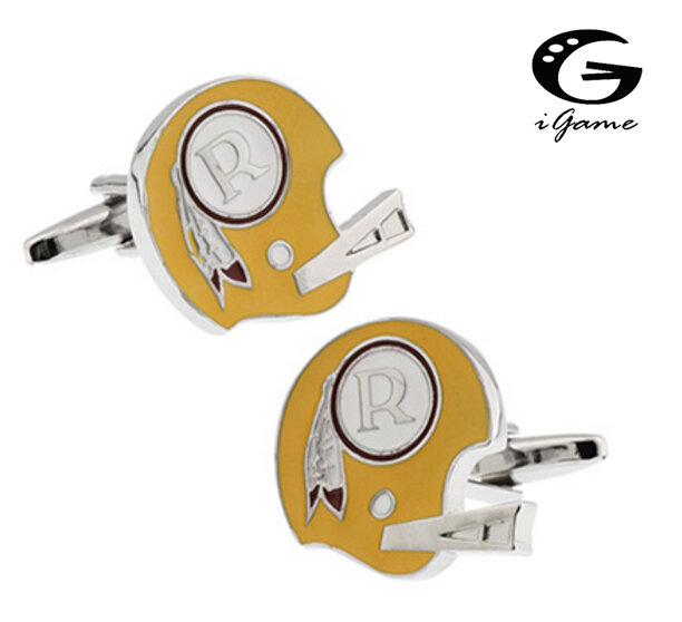 iGame Football Helmet Cufflinks Wholesale&retail Novelty Sport Design Quality Brass Material Best Gift For Men Free Shipping