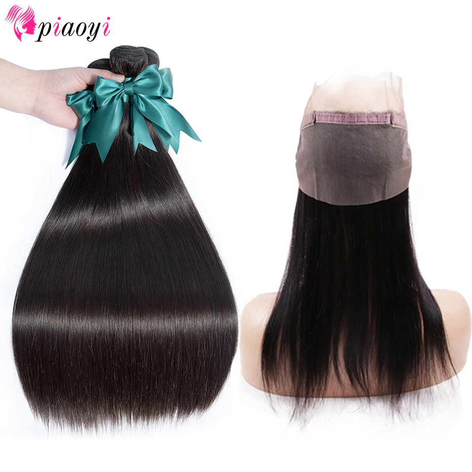 Piaoyi Brazilian Straight Hair 360 Lace Frontal Closure With Bundles Remy Human Hair 3 Bundles With