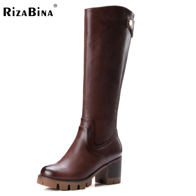 RizaBina Women Platform Knee Boots Woman Round Toe Square Low Heel Shoes Ladies Brand Vintage Boot Bootines Mujer Size 32-42