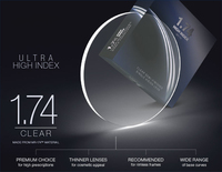 1.74 siêu cao chỉ số mỏng aspheric quang học ống kính theo toa cho Cận thị kính