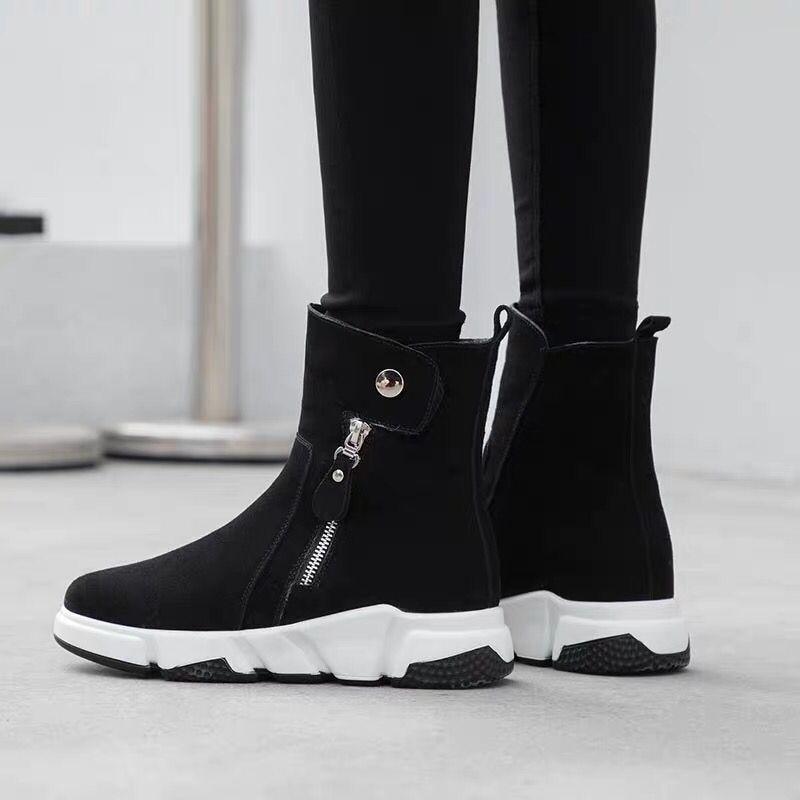 Zapatillas De Zapatos Negro Piel Nieve Mujer Plataforma Planos Ystergal Creepers Caliente Casual Goma Botas Invierno Xw70fxBU