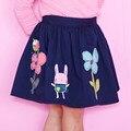 Nueva marca de los bebés de la falda del otoño de dibujos animados patrón floral niño niños faldas falda azul marino de algodón embroma la ropa