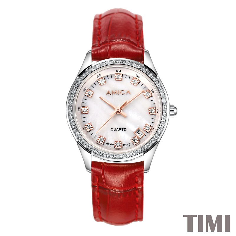ФОТО AMICA NEW FASHION 2017 FULL STEEL DEEP RED WATCHBAND WHITE SURFACE ROSE GLOD POINTER WOMENS QURATZ WATCH LADYS WATCH A7-13