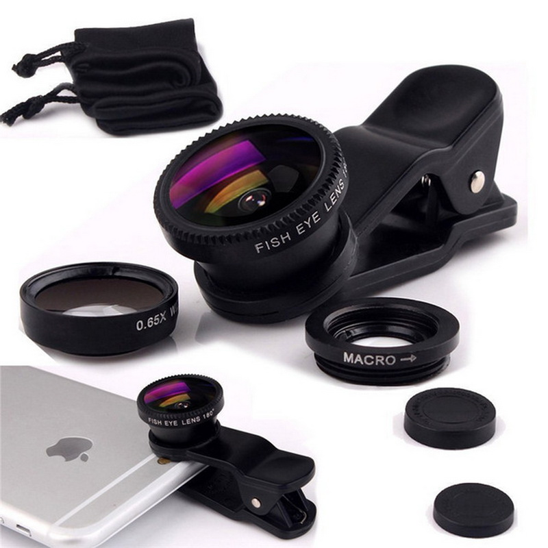 Universal 3 in 1 Clip Fish Eye Smartphone Camera Lens Wide Angle Macro Mobile Phone Lens For IPhone 7 6 5 4 Smart Phones Fisheye