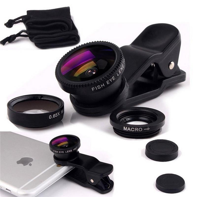 Universal 3 in 1 Clip Fish Eye Smartphone Camera Lens Wide Angle Macro Mobile Phone Lens For IPhone 7 6 5 4 Smart Phones Fisheye