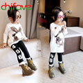 2015 Autumn Fashion Korean Girls Long Tees Cartoon Dog Long Sleeve T-shirt Bow Decoration Long T-shirt Dress for Baby Girls
