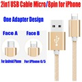 Original Weave Style 2 in 1 USB Cable Micro to 8pin for iPhone 5 6 7 Plus iPad Android Phone Fast Charging Cable 2.1A RC04