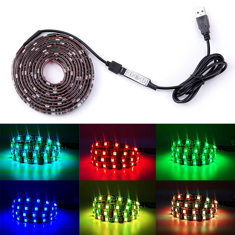 RGB Led Strip Lights DC 5V TV Backlight USB Led Flexible Strip 50CM 1M 2M 3M 4M 5M SMD3528 Tira Tape Bande Lighting for Home P25 ...