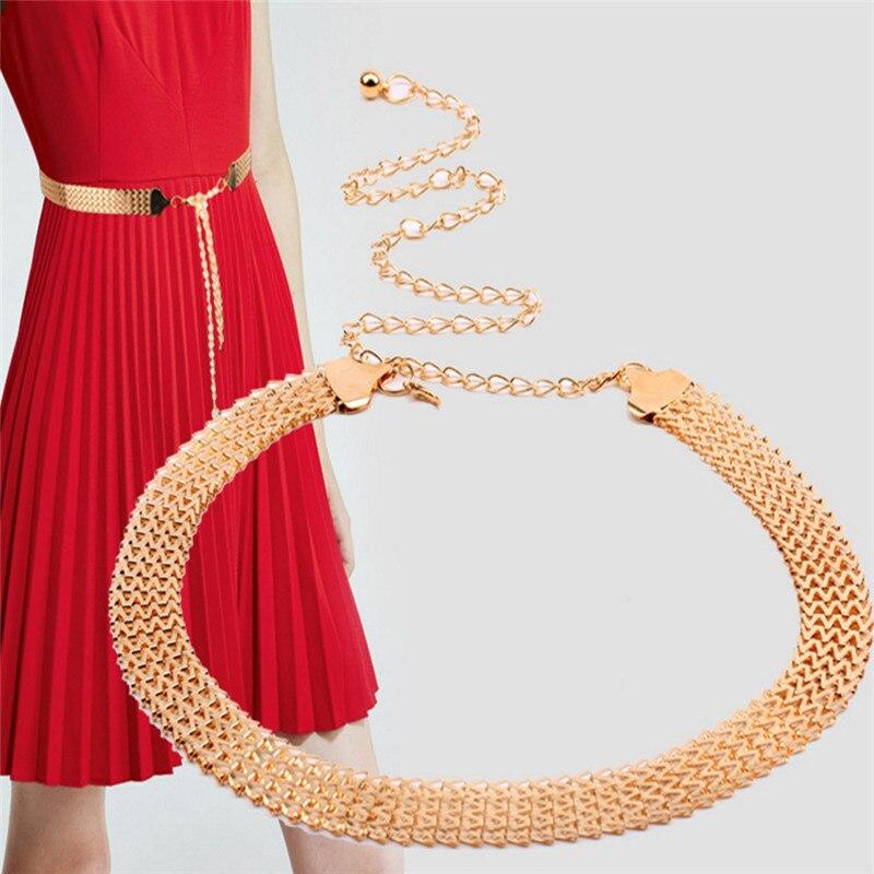 Women Elastic Metal Belt Gold Thin Stretch Skinny Waist ...