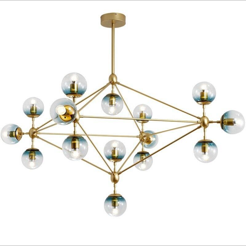 Işıklar ve Aydınlatma'ten Avizeler'de Iskandinav Yaratıcı Kişilik Retro Endüstriyel Tarzı Oturma Odası Giyim Mağaza Cam LED Avize Altın Moleküler Sihirli Fasulye E27 MMBL Lighting Store