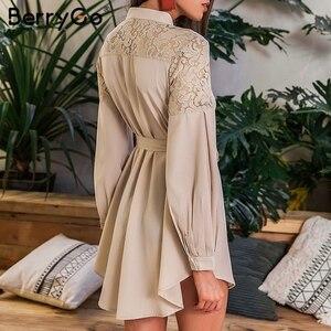 Image 3 - Женское кружевное платье рубашка BerryGo, однотонное Сетчатое офисное платье с вышивкой, длинными рукавами и пуговицами, Летнее мини платье с поясом