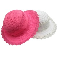 2016 Lace Splices Hat For Baby Girl Best Cotton Outdoor Cap In Summer Granceful Kids Sun