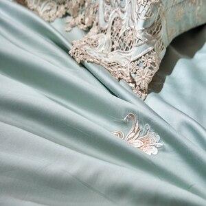 Image 4 - Dantel mısır pamuk kraliçe çift kişilik yatak seti mavi pembe altın yatak takımı lastikli çarşaf nevresim ropa de cama parrure de yaktı