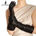 Guantes de cuero de las mujeres, Cuero Genuino, Algodón, Adulto, Negro, diseño fruncido Longitud 45-48 CM, Spandex, guantes de cuero