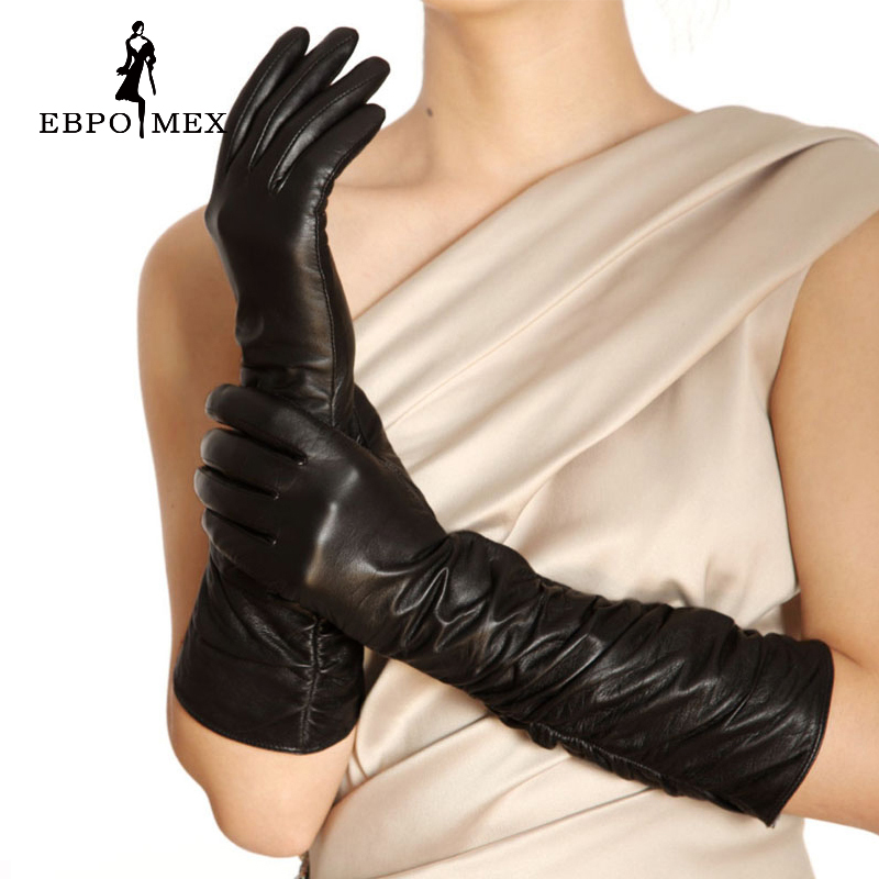 Spandex Leather Gloves New Varieties Are Introduced One After Another Women Leather Gloves,genuine Leather,cotton,adult,black,shirring Design Length 45-48cm