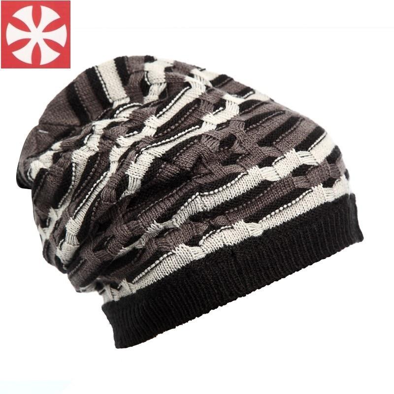 CaiZhongHai / B58 Zebra Stripes Winter Hats For Women Men Beanies Knitted hat Caps Wool Hip Hop Skate Skull Caps men s skullies winter wool knitted hat outdoor warm casual solid caps for men caps hats