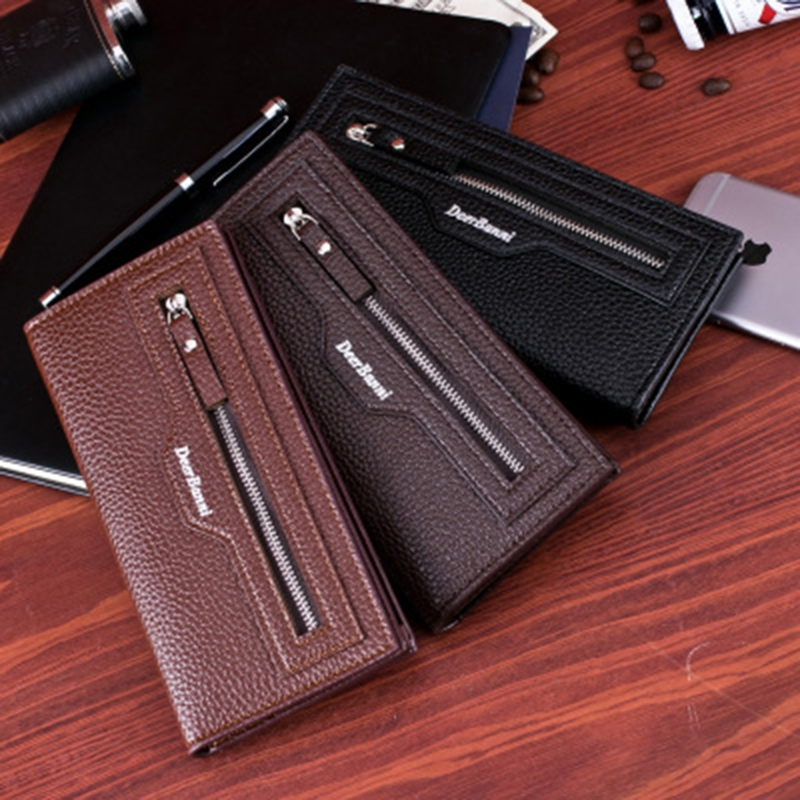 THINKTHENDO Men's Leather Long Wallet Bifold ID Card Holder Purse Checkbook Clutch Billfold Polyester Faux Leather Bag men pu leather credit card holder billfold wallet purse checkbook clutch