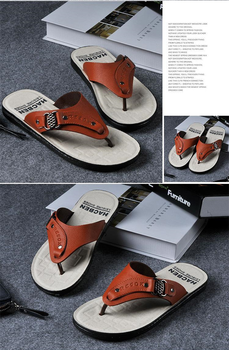 Вьетнамки мужские пляжные повседневные модные брендовые кожаные сандалии на платформе г. летние мужские шлепанцы,, высокое качество для отдыха, Лидер продаж
