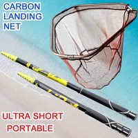 Filets de pêche à la main 4M 3M 2.1M pliant tige en carbone en Nylon pliable en acier