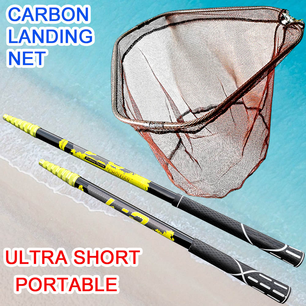 Fishing landing hand Nets 4M 3M 2.1M Folding Carbon rod Nylon Collapsible steel Tackle  tank Hole Depth Dipfor fishing