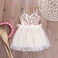 2016 laço menina meninas vestido de verão vestidos de princesa crianças bonitos vestidos de Lantejoulas Vestido de Criança Roupas de Verão