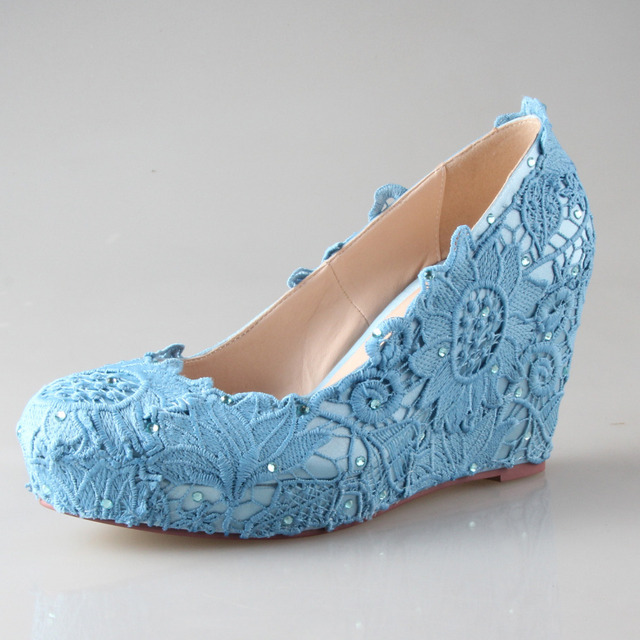 Creativesugar Handmade Ocean Blue Lace Wedge Bridal Beach Wedding Shoes  Custom Color Woman Shoes High Heel