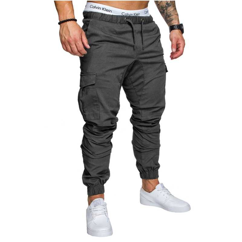 286e4f464 ... Fashion Men's Man Boys Casual Jogger Cargo Pants Nice Side Pockets  Ankle tie Long Pants Slim