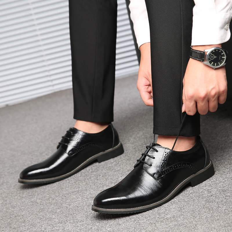 SYWGDC 2019 New High Quality Genuine Leather Men Dress Shoes Lace Up Business Brogues Shoes Men Oxfords Shoes Male Formal Shoes in Formal Shoes from Shoes