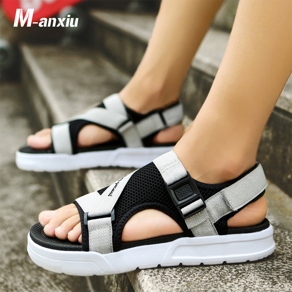 2018 Summer Men Cross Strap Sport Outdoor Pu Sole Hook-loop Sandal M-anxiu Casual Solid Color Fashion Antiskid Beach Shoes Famous For High Quality Raw Materials And Great Variety Of Designs And Colors Full Range Of Specifications And Sizes