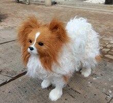 large Papillon dog 28x27cm hard model,polyethylene&furry fur dog, toy,Xmas gift c360