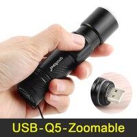 Mini USB LED Flashlight Rechargeable Q5 Handy Powerful Flashlight 3 Modes Zoomable Led Torch Light Lanterna